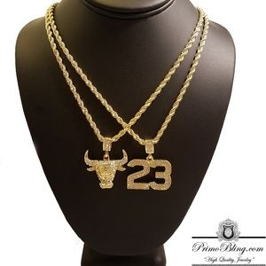 14k Gold Plated Bulls Hip Hop Necklace Set